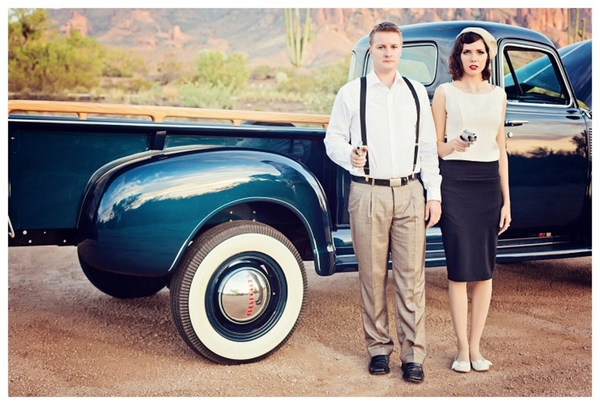 Bonnie and Clyde Theme Engagement | Love Wed Bliss