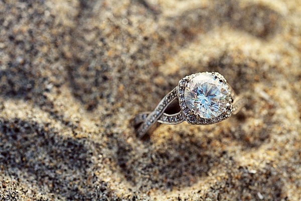 Solitaire Engagement Ring on the Beach Picture