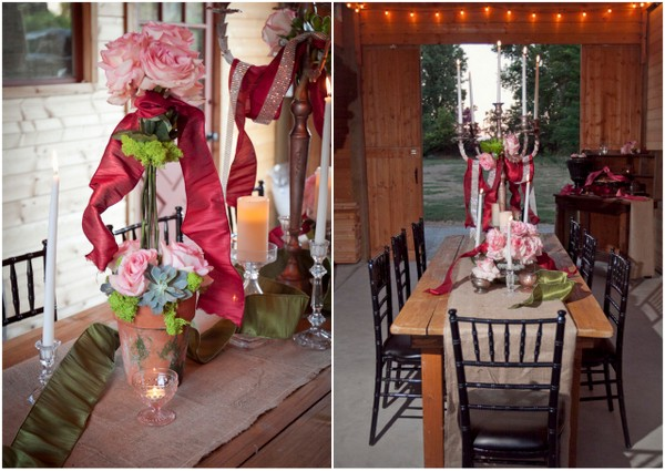 Vintage Glam Barn Wedding Centerpiece | Love Wed Bliss