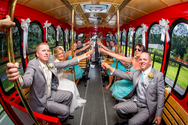 Red Trolley for Wedding Party